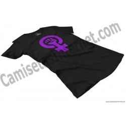 Camiseta Día Internacional de la Mujer chica color negro perspectiva
