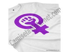 Camiseta Día Internacional de la Mujer chica color blanco perspectiva cerca