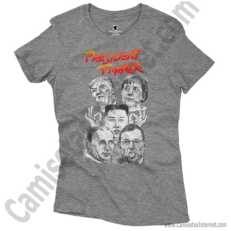Camiseta President Fighter V1.0 Chica color gris jaspeado