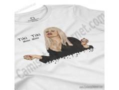 Camiseta Ylenia Tiki Tiki Miau Miau Chica color blanco perspectiva cerca