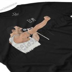Camiseta EO!!! Chico color negro perspectiva cerca
