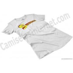 Camiseta Supermamá chica color blanco perspectiva