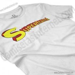 Camiseta Supermamá chica color blanco perspectiva cerca