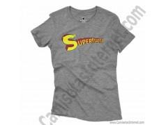 Camiseta Supermamá chica color gris jaspeado