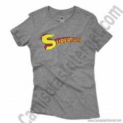Camiseta Supermamá chica color gris jaspeado