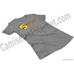 Camiseta Supermamá chica color gris jaspeado perspectiva