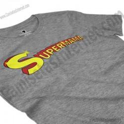 Camiseta Supermamá chica color gris jaspeado perspectiva cerca