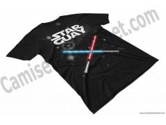 Camiseta Star Guay y sus espadas de luz Chico color negro perspectiva