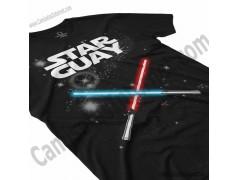 Camiseta Star Guay y sus espadas de luz Chico color negro perspectiva cerca