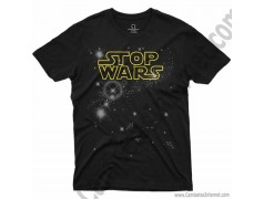 Camiseta Stop Wars amarillo Chico color negro