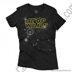 Camiseta Stop Wars amarillo Chica color negro