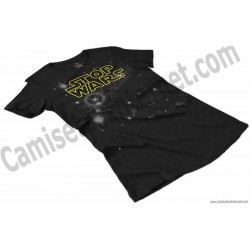 Camiseta Stop Wars amarillo Chica color negro perspectiva