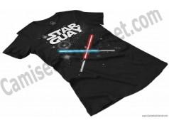 Camiseta Star Guay y sus espadas de luz Chica color negro perspectiva