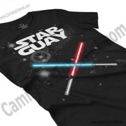 Camiseta Star Guay y sus espadas de luz Chica color negro perspectiva cerca