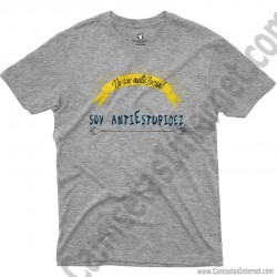 Camiseta_no soy antiSocial Soy antiEstupidez Chico color gris Jaspeado