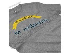Camiseta_no soy antiSocial Soy antiEstupidez Chica color gris Jaspeado perspectiva cerca