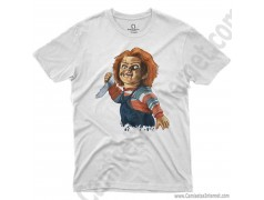 Camiseta Chucky con cuchillo Chico color blanco