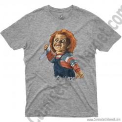 Camiseta Chucky con cuchillo Chico color gris Jaspeado
