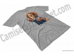 Camiseta Chucky con cuchillo Chico color gris Jaspeado perspectiva