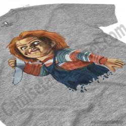 Camiseta Chucky con cuchillo Chico color gris Jaspeado perspectiva cerca