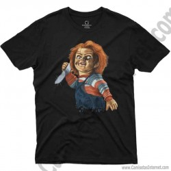 Camiseta Chucky con cuchillo Chico color negro