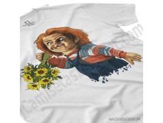 Camiseta Chucky con flores Chico color blanco perspectiva cerca