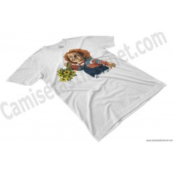 Camiseta Chucky con flores Chico color blanco perspectiva