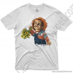 Camiseta Chucky con flores Chico color blanco