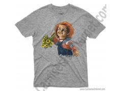 Camiseta Chucky con flores Chico color gris Jaspeado