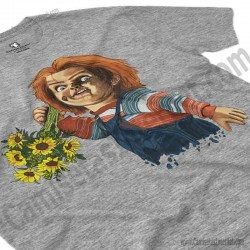 Camiseta Chucky con flores Chico color gris Jaspeado perspectiva cerca