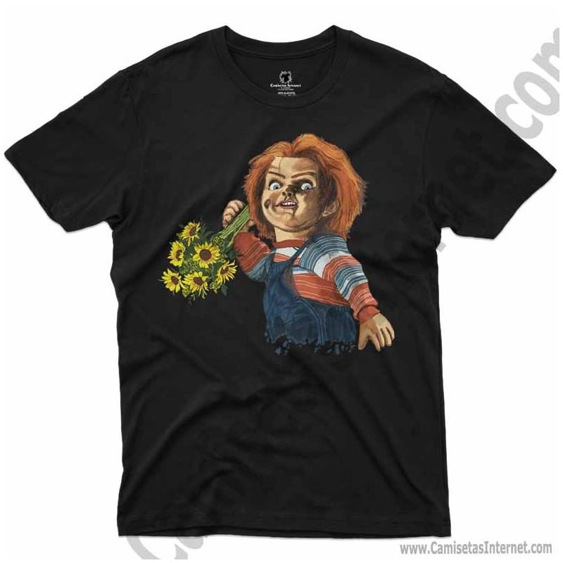 Camiseta Chucky con flores Chico color negro