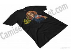 Camiseta Chucky con flores Chico color negro perspectiva