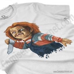 Camiseta Chucky con cuchillo Chica color blanco perspectiva cerca