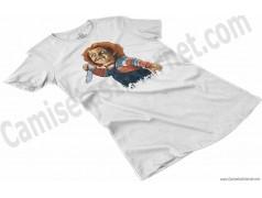 Camiseta Chucky con cuchillo Chica color blanco perspectiva