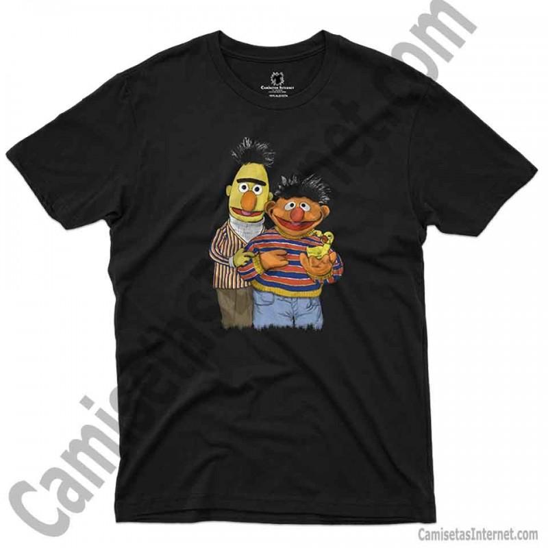 Camiseta Manga Larga de Hombre Divertidas Funny Graciosa Barrio Sesamo EPI Y BLAS Men in Black 085