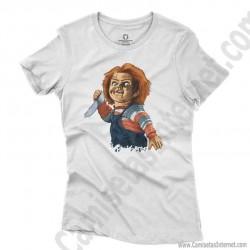 Camiseta Chucky con cuchillo Chica color blanco