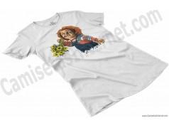 Camiseta Chucky con flores Chica color blanco perspectiva