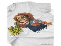 Camiseta Chucky con flores Chica color blanco perspectiva cerca