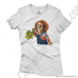 Camiseta Chucky con flores Chica color blanco