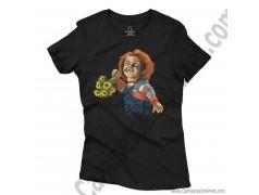 Camiseta Chucky con flores Chica color negro