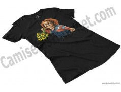 Camiseta Chucky con flores Chica color negro perspectiva