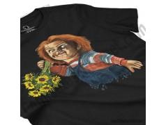 Camiseta Chucky con flores Chica color negro perspectiva cerca