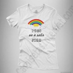 Camiseta Arcoíris con frase TODO va a salir BIEN Chica color blanco