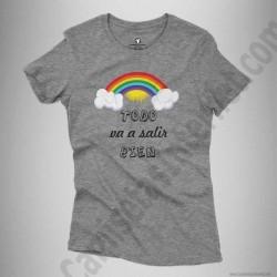 Camiseta Arcoíris con frase TODO va a salir BIEN Chica color gris jaspeado