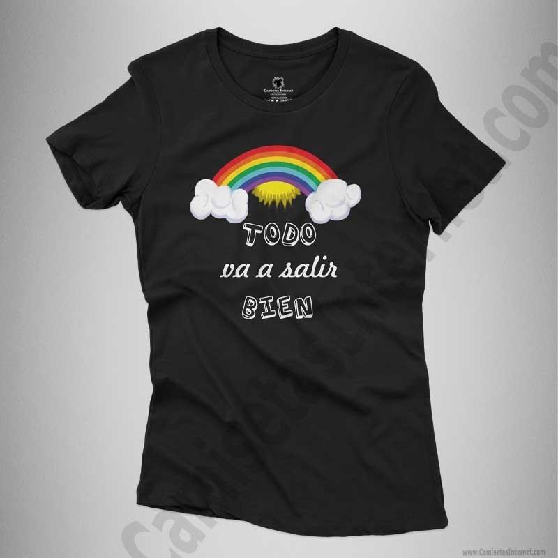 Camiseta Arcoíris con frase TODO va a salir BIEN Chica color negro