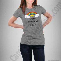 Camiseta modelo Arcoíris con frase TODO va a salir BIEN Chica color gris jaspeado
