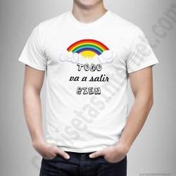 Camiseta modelo Arcoíris con frase TODO va a salir BIEN Chico color blanco