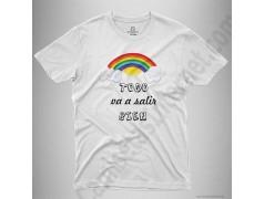 Camiseta Arcoíris con frase TODO va a salir BIEN Chico color blanco