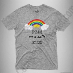 Camiseta Arcoíris con frase TODO va a salir BIEN Chico color gris jaspeado