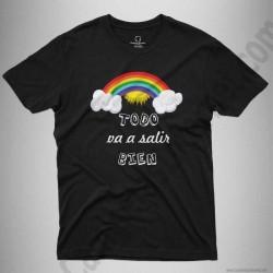 Camiseta Arcoíris con frase TODO va a salir BIEN Chico color negro